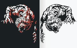 silhuett av tiger som lurar redo att attackera, stencil vektorritning clipart vektor