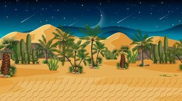 Wüstenwaldlandschaft bei Nachtszene vektor