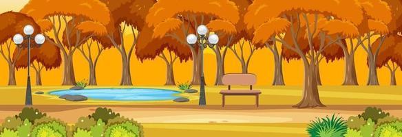 Park in der Herbstsaison horizontale Szene zur Sonnenuntergangszeit vektor