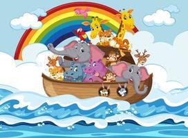 Tiere auf Noahs Arche schwimmen in der Ozeanszene vektor