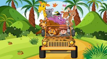 Safari-Szene tagsüber mit wilden Tieren auf dem Touristenauto vektor
