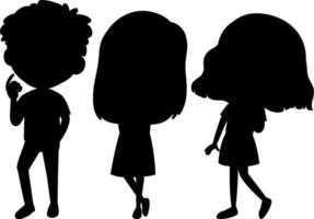 Satz Kinderschattenbild-Zeichentrickfigur vektor