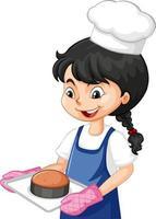 Kochmädchen, das Kochmütze hält, die Backblech hält vektor