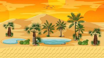 Wüstenwaldlandschaft bei Sonnenuntergangsszene mit Oase vektor