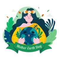 niedliches Mutter-Erde-Tageskonzept vektor