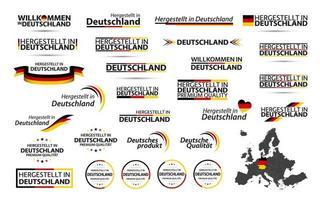 großer Vektorsatz der deutschen Bänder, der Symbole, der Ikonen und der Flaggen lokalisiert auf einem weißen Hintergrund. Hergestellt in Deutschland. Willkommen in Deutschland. Premium Qualität. deutsches dreifarbiges Set für Ihre Infografiken und Vorlagen vektor