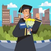 pojken firar examen och tar med en bukett vektor