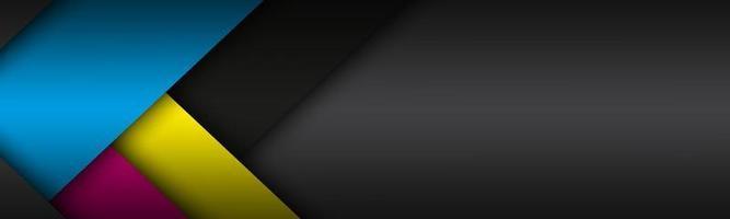 schwarzer moderner Materialhintergrund mit überlappenden Papierbögen in cmyk Farben. Vorlage für Ihr Unternehmen. Vektor abstrakter Breitbildhintergrund