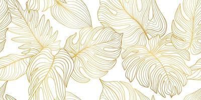 sömlös blommönster med tropiska löv och blommor vektor