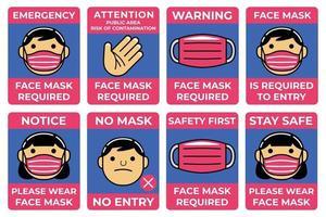 Gesichtsmaske im flachen Designstil erforderlich. vektor