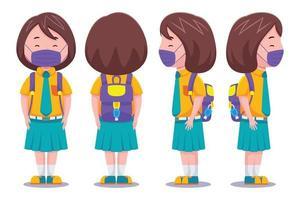 süßes Schulmädchen mit Gesichtsmasken-Set vektor