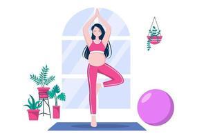schwangere Frau, die Yoga-Posen macht vektor