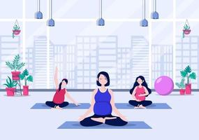 schwangere Frau, die Yoga tut, stellt Vektorillustration auf vektor