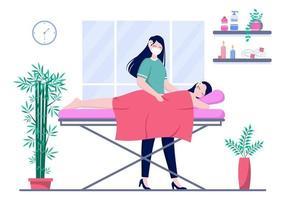 Massagevektorillustration im Schönheitssalon vektor