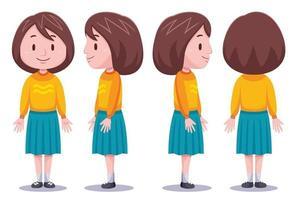 süßes Mädchen Charakter in verschiedenen Posen 1 vektor