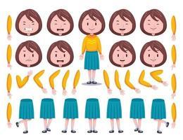 Vorderansicht niedliches Mädchen Charaktererstellungssatz 1 vektor
