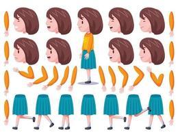 linke Ansicht niedliches Mädchen Charaktererstellungssatz 1 vektor