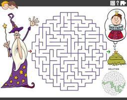 Labyrinth-Lernspiel mit Cartoon-Zauberer und Froschkönig vektor