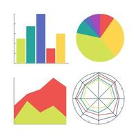 eine Reihe von vier Arten von Diagrammen. Bar, Kuchen, Fläche und Radar. Illustration für Marketing- und Finanzberichte und Präsentationen. vektor