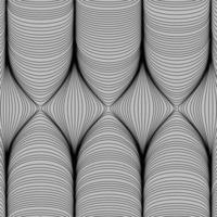 optische Kunst, gestreifter Vektorhintergrund. Grafik der abstrakten glatten schwarzen Wellenkurvenbewegungslinien. sechs Finger. vektor
