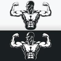 Silhouette Gym Bodybuilder, der Armmuskeln biegt, Schablonenvektorzeichnung vektor