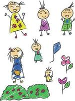 barn ritning, kid skiss, barnslig doodle vektorillustration vektor