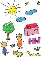 Kinder Skizze, Zeichnung Kind, Gekritzel Cartoon Vektor-Illustration vektor