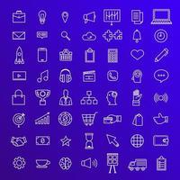 Vektor Set Icons Thin Line Konzept Geschäft und Technologie Inhalt. flache Designillustration.