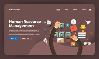 Mock-up Design Website Flat Design Konzept digitales Marketing. Personalmanagement. Vektorillustration. vektor