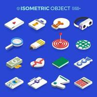 Vektor-Set-Symbole isometrischer 3D-Objektkonzept-Geschäfts- und Technologieinhalt. flache Designillustration. vektor
