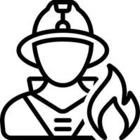 linje ikon för brandman vektor