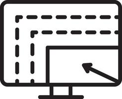 linje ikon för skärm vektor