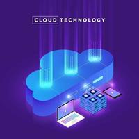 isometrisches Cloud Computing vektor