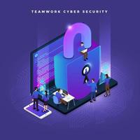 isometrische Cybersicherheit vektor