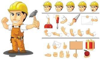 industriell byggnadsarbetare maskot, tecknad vektorritning vektor