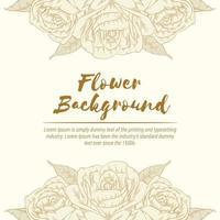 Hintergrund der Rose Hand gezeichnete Blumenskizze Vorlage Vektor Layout