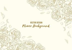 Hintergrund Blumen Hand gezeichnete Rose Umriss Blume Blätter Vorlage vektor
