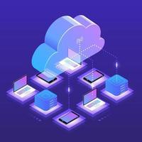 isometrische Wolkentechnologie vektor
