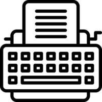 linje ikon för skrivmaskin