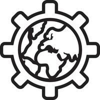 linje ikon för globalisering