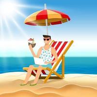 Illustration Cartoon Konzept Mann entspannen auf dem Strand. Vektor veranschaulichen.