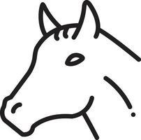 linje ikon för häst vektor