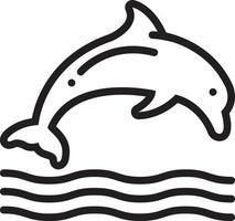 linje ikon för delfin