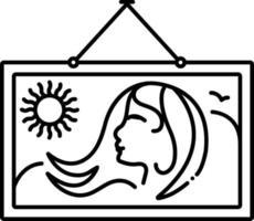 linje ikon för målning vektor