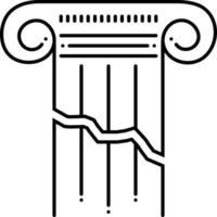 linje ikon för trasig vektor