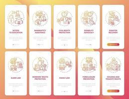 Rechtsberatung Onboarding Mobile App Seite Bildschirm mit Konzepten