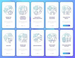 Problemlösung Navy Onboarding Mobile App Seitenbildschirm mit festgelegten Konzepten