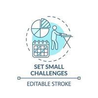 Stellen Sie kleine Herausforderungen Türkis-Konzept-Symbol