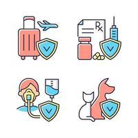 försäkring och skydd rgb färgikoner set