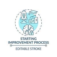 Starten des Verbesserungsprozesses Türkis-Konzeptsymbol